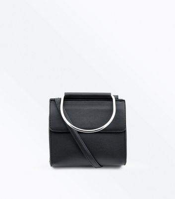 Black Circle Handle Cross Body Bag