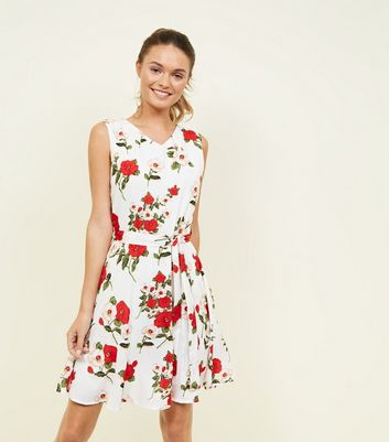 Mela White Floral Tie Waist Skater Dress