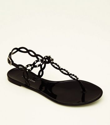 Black Diamanté Jelly Sandals
