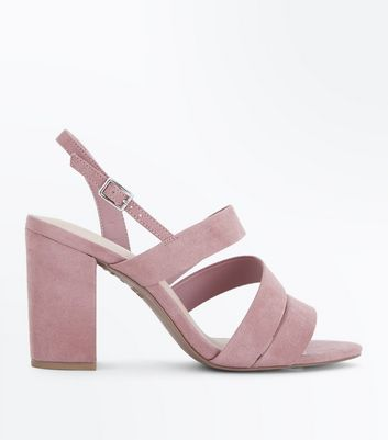 Wide Fit Pink Comfort Flex Asymmetric Strap Sandals