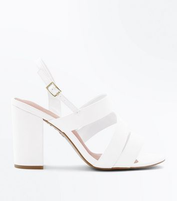 Wide Fit White Comfort Flex Strappy Block Heels