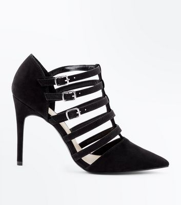 Wide Fit Black Suedette Caged Pointed Heels