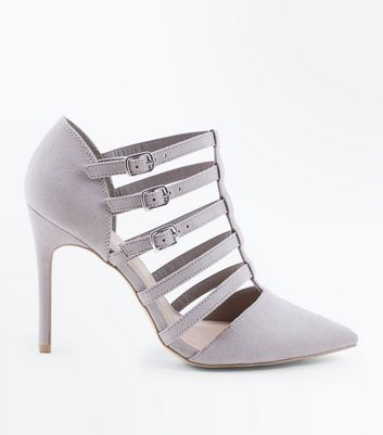 Wide Fit Grey Suedette Caged Pointed Heels
