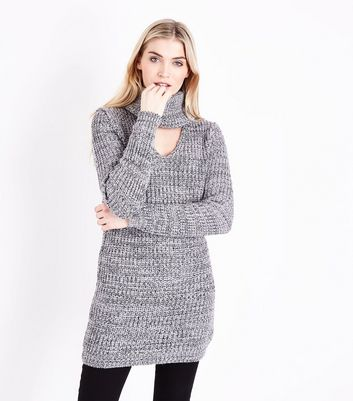 Blue Vanilla Cowl Neck Cut Out Front Jumper