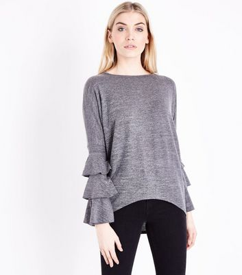 Blue Vanilla Grey Tiered Sleeve Top