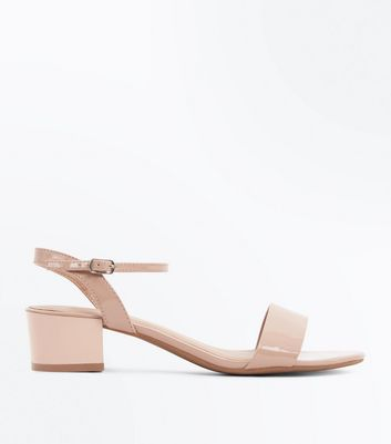 Wide Fit Nude Patent Low Heel Sandals by New Look