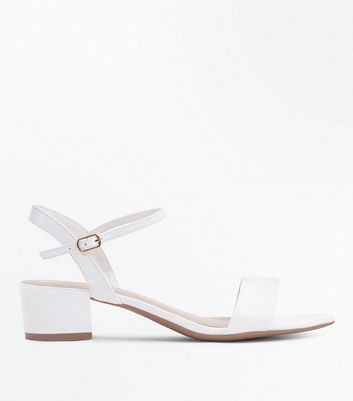 Wide Fit White Low Heel Sandals