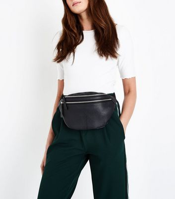 Black Double Pocket Bum Bag