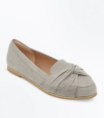 Wide Fit Grey Suedette Twist Front Metal Trim Loafers