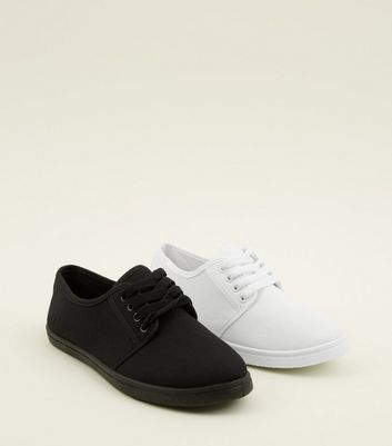 Girls 2 Pack White and Black Trainers
