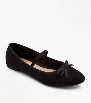Girls Black Suedette Bow Front Strap Ballet Pumps
