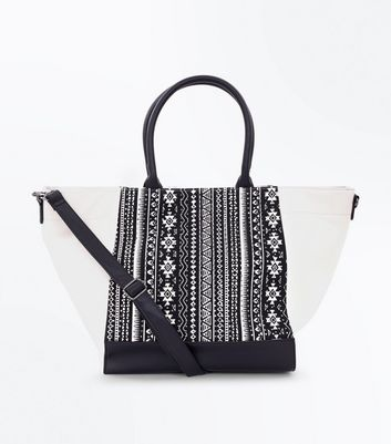 Monochrome Aztec Gem Embellished Shopper Bag
