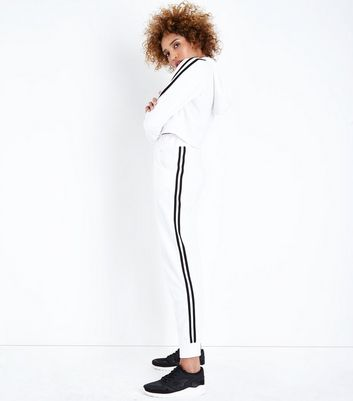 White Side Stripe Slim Leg Joggers