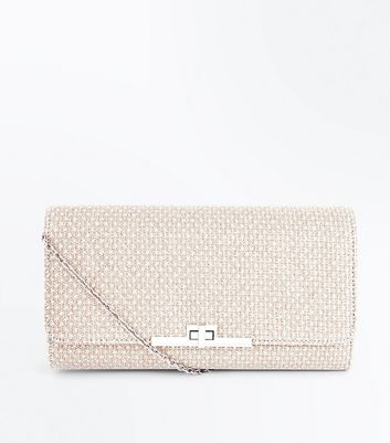 Goldfarbene Clutch in Glitzer-Optik mit Steg vorne