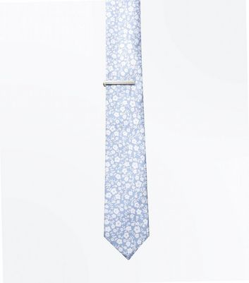 Blue Floral Tie and Pin