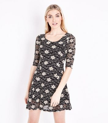 Blue Vanilla Black Floral Lace Skater Dress