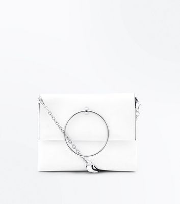White Leather-Look Ring Handle Shoulder Bag