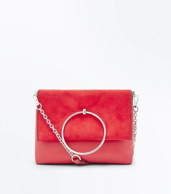Red Leather-Look Ring Handle Shoulder Bag