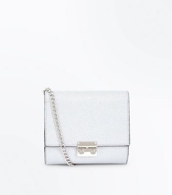 Silver Glitter Chain Shoulder Bag