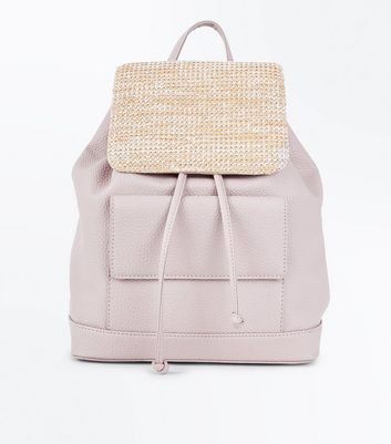 Nude Woven Straw Panel Mini Backpack