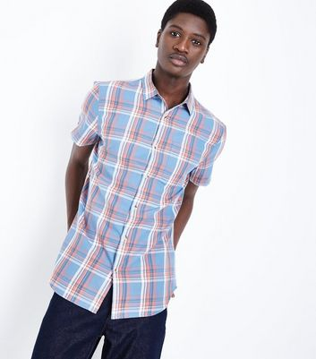 Blue and Coral Check Shirt