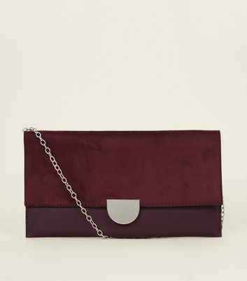 Burgundy Suedette Panel Clutch Bag