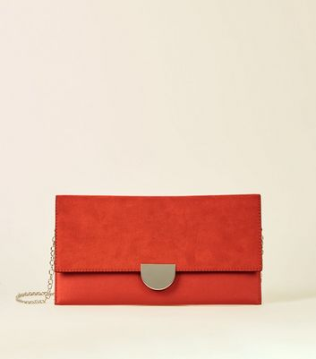 Dark Orange Chain Strap Clutch Bag