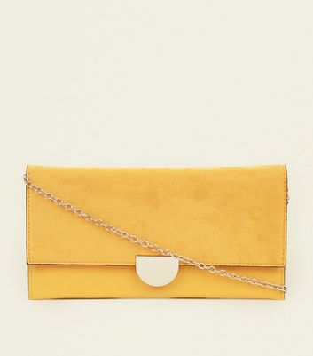 Pale Yellow Suedette Panel Clutch Bag