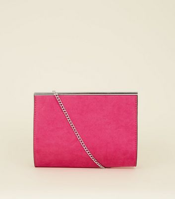 Bright Pink Suedette Bar Top Shoulder Bag by New Look