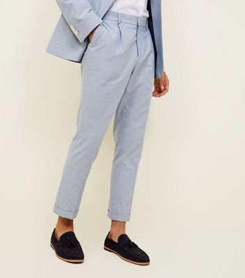 Pantalon bleu slim court Oxford