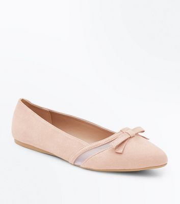 Wide Fit Nude Mesh Panel Pointed Pumps