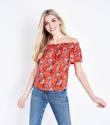 Red Floral Shirred Bardot Neck Top