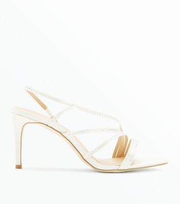 Wide Fit Off White Satin Asymmetric Strap Wedding Heels
