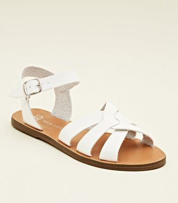 Girls White Cross Strap Caged Flat Sandals