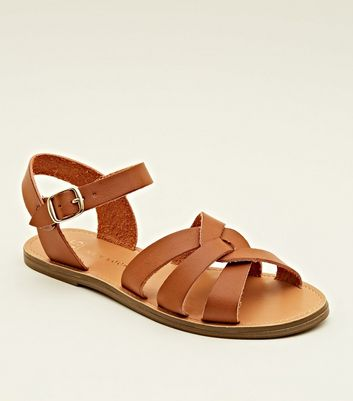 Teens Tan Cross Strap Caged Flat Sandals