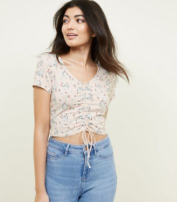 Pink Floral Print Ruched Crop Top