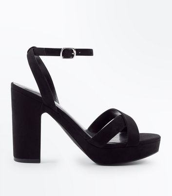 Wide Fit Black Suedette Cross Strap Platform Sandals