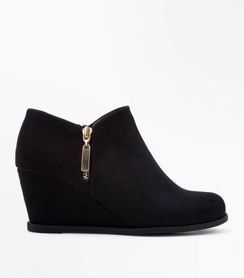 Teens Black Suedette Zip Side Wedge Heel Boots