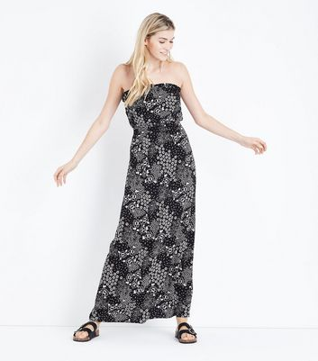 Black Folk Floral Bandeau Maxi Dress