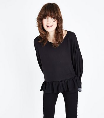 QED Black Chiffon Batwing Frill Trim Top