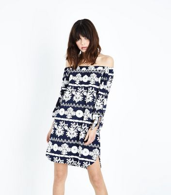 QED Navy Floral Tie Sleeve Bardot Dress