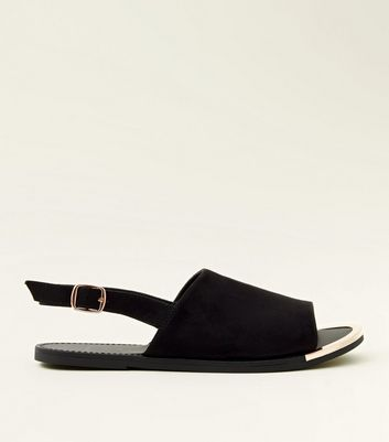 Wide Fit Black Suedette Metal Trim Slingback Sandals