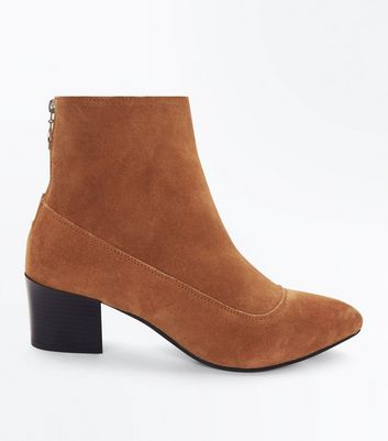 Tan Premium Suede Ring Zip Back Boots