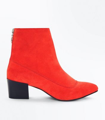 Red Premium Suede Ring Zip Back Boots