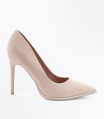Wide Fit Nude Suedette Glitter Trim Courts