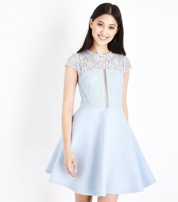Petite Blue Ladder Lace Bodice Skater Dress