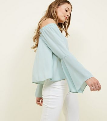 Tall Mint Green Bell Sleeve Bardot Top