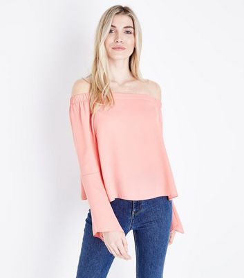 Tall Coral Bell Sleeve Bardot Top