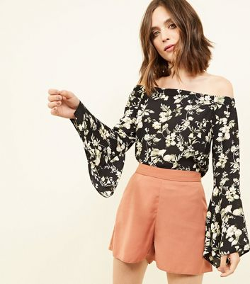 Tall Black Floral Hanky Sleeve Bardot Top