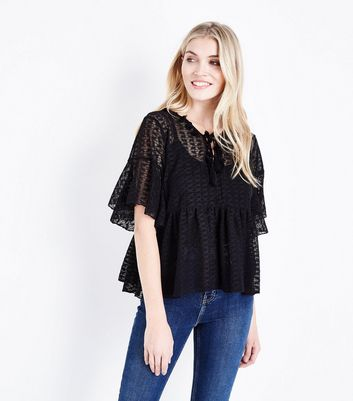 Black Lace Knit Bell Sleeve Smock Top
